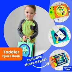 Quiet Book for 2 Year Old Boy ~ Gift Set includes Personalized Cover and Educational Activities for Toddlers! Educational Activities For Preschoolers, Toddler Learning Activities, Montessori Activities, Educational Toys For Kids, Learning Toys, Fun Activities, Old Boy, 2nd Birthday Gifts, Travel Toys