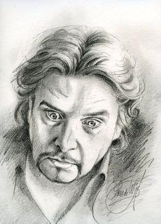 Poen de Wijs heeft Fred Delfgaauw geportretteerd. Dit is een van de eerste potloodportretten.