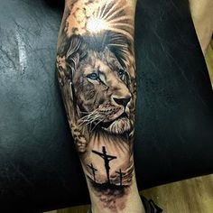 christian tattoos for guys shoulder Lion Forearm Tattoos, Lion Head Tattoos, Forarm Tattoos, Leg Tattoos, Body Art Tattoos, Tattoos For Guys, Lion Leg Tattoo, Tatoos, Lion Tattoos For Men