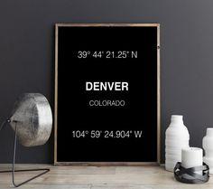 Denver Print City Coordinates Art Print Wall Art by FineArtHunter