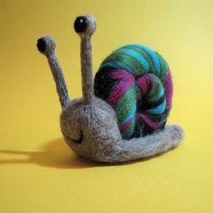 Snail Needle Felting Kit by HawthornHandmade on Etsy, Needle Felting Kits, Needle Felted Animals, Wet Felting, Felt Animals, Pom Pom Crafts, Felt Crafts, Snail Craft, Wooly Bully, Bear Felt