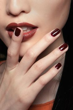 maroon lips and nails