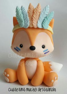 Polymer Clay Figures, Cute Polymer Clay, Cute Clay, Fondant Figures, Polymer Clay Projects, Fox Cake, Woodland Cake, Animal Cupcakes, Baby Birthday Cakes