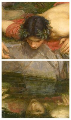 Detail from Echo and Narcissus, John William Waterhouse. This painting demonstrates Narcissus looking into the water at his reflection. This infatuation ultimately led to his death. John William Waterhouse, Pre Raphaelite Paintings, Narcisse, Ligne Claire, Art For Art Sake, Greek Mythology, Beautiful Paintings, Love Art, Oeuvre D'art