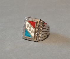 Huge Vintage #Mens #Ring #Sterling Silver Turquoise Coral #USA Flag Native American Indian Size 9.5