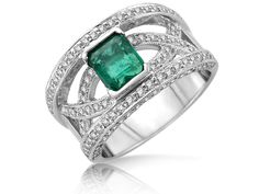 The centre is a half bezel set with a natural emerald. The sides are bead set with round brilliant diamonds with a total weight of tw. Natural Emerald, Emerald Diamond, Ring Designs, Heart Ring, Centre, Custom Design, Frozen, Diamonds, White Gold