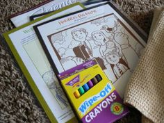 Love this idea. Laminated pages from the friend, with wipe off crayons. Perfect sacrament meeting activity!