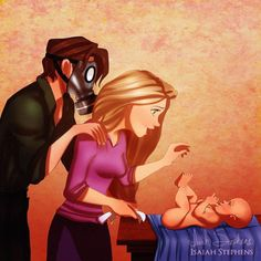 This Artist Turns Disney Princesses Into Parents — and the Results Are Perfection - Flynn and Rapunzel -> Ha! Flynn would wear a gas mask to change a diaper...