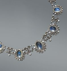 Moonstone and diamond necklace, 1900