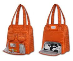 Stylish and cute gym bag.  Like how the shoes have their own pocket...I also like the shoes!!