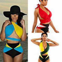 9a6f791bbe Criss Cross Halter Top High Waisted Bathing Suits Sexy Wrap Bikini Set  Print Swimwear Women Bandage Swimsuit Plus Size 5 Styles