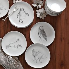 winter solstice animal dessert plates #westelm
