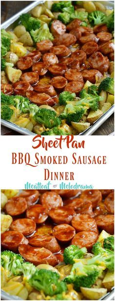 Sheet Pan BBQ Smoked Sausage Dinner with Broccoli and Potatoes is made with kielbasa slices drenched in tangy barbecue sauce and baked on one sheet pan in just 20 minutes. It's a quick and easy dinner (Sausage Recipes) Smoked Sausage Recipes, Pork Recipes, Cooking Recipes, Healthy Recipes, Smoked Sausages, Yummy Recipes, Healthy Food, Recipes With Smoked Sausage And Potatoes, Recipes With Summer Sausage