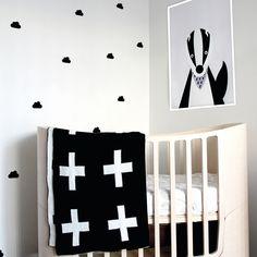 Minimal, monochrone nursery  Badger print available on emmacoast.com