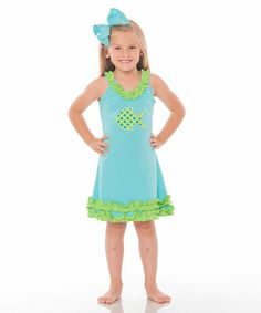 Look what I found on #zulily! Turquoise & Lime Fish Swing Dress - Infant, Toddler & Girls #zulilyfinds
