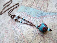 Turquoise Bead Necklace Handmade Beaded by LittleBitsOFaith, $27.00