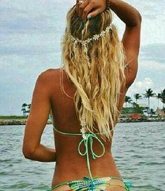 Summer! Tan skin, blond hair, flowers, bikini's...
