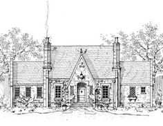 "storybook house plans~English Tudor.  Love this plan. ""Somerset Cottage"" 2662 sf~sunken Great Room."