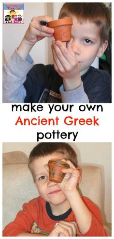 Ancient Greeks for preschool, make your own Ancient Greece inspired terracotta pot in this super quick and simple craft