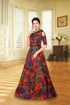 Dm me for buy👇 🛍Exclusive New Designer Gown 🛍 *SKU* :- Zorba 8061 orange flower Zorba 8062 black flower *Fabric* :- Banglory… Stylish Dress Designs, Stylish Dresses, Women's Fashion Dresses, Silk Gown, Silk Satin, Maroon Gowns, Party Wear Long Gowns, Western Gown, Short Gowns