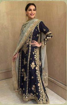 in a midnight blue handloom chanderi kalidar for a recent event Shadi Dresses, Pakistani Bridal Dresses, Pakistani Outfits, Indian Dresses, Indian Outfits, Pakistani Clothing, Eid Dresses, Indian Attire, Indian Wear