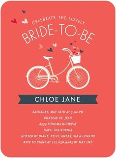 Bridal bicycle wedding shower invitation stormy blue wbc coral adorable bicycle themed bridal shower invite filmwisefo