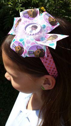 Doc McStuffins Polka Dot Glitter Headband or Bow READY TO SHIP by BerryBlondeRibbon on Etsy https://www.etsy.com/listing/229252912/doc-mcstuffins-polka-dot-glitter