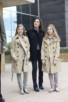 8 April 2018 - Spanish Royals visit former King Juan Carlos at La Moraleja hospital in Madrid - shoes by Massimo Dutti, bag by Carolina Herrera
