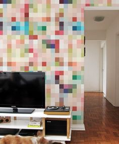 I wonder, if I used a low res pic, blew it up to pixelate it, if I could use paint chips to make it on the wall? ~Ariel