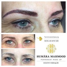 Endlich perfekte Augenbrauen -  Finally perfect eyebrows - You can see the customer before, the predrawing and right after the eyebrows permanent make up treatment. The pigmentation technic is the hairstroke brow, so that it looks very natural and hardly like a pigmentation.