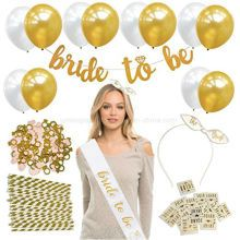 Bachelorette Party Decorations Kit – Bridal Shower Decoration & Party Supplies Accessories – Bride to Be Sash – Banner – Gold & Pearl Balloons – Tattoos – Headband – Straws – Confetti – Bride Tattoos – - How To Make Crazy PARTY Bachelorette Party Sash, Bachelorette Party Supplies, Bachelorette Party Decorations, Bride To Be Banner, Bride To Be Sash, Elegant Party Decorations, Decoration Party, Balloon Tattoo, Brides With Tattoos