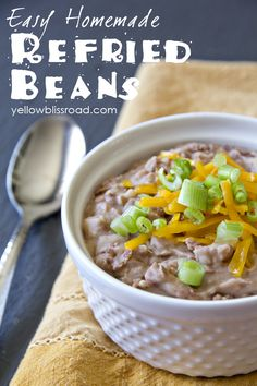 Easy Homemade Refried Beans. So easy and better tasting than the canned stuff, and costs pennies per serving!