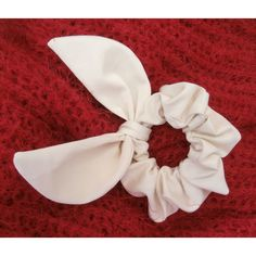 White Bunny Ear Scrunchie ($6.11) ❤ liked on Polyvore featuring accessories, hair accessories, white hair accessories and scrunchie hair accessories