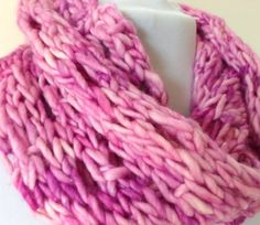 Love Me Tender Pink Chunky Infinity Scarf Cowl  by StitchesnQuilts