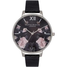 TopShop Olivia Burton Enchanted Garden ob15eg09 Watch (€105) ❤ liked on Polyvore featuring jewelry, watches, black, floral jewelry, topshop, dial watches, floral watches and water resistant watches