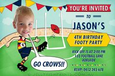 birthday invitations for a west coast Eagles footy fan. Cool Aussie rules themed party idea for your child. Can customise with your childs face in the invite on the footy player kicking the ball for a goal, just like he is playing for his best Team. Sports Birthday, 8th Birthday, Birthday Ideas, West Coast Eagles, Party Venues, Party Themes, Party Ideas, Party Party, Childrens Party