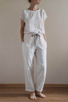 Linen sleepwear/ White pajama set/ Linen pyjama/ Linen pants/ White pajama pants/ White pajama top/ Womens pajamas/ AUDREY top and EVA pants Pajama Bottoms, Pajama Top, Pajama Pants, Look Fashion, Fashion Outfits, Gothic Fashion, Night Suit, Pencil Skirt Black, Pencil Skirts