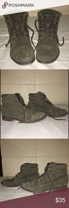Green Steve Madden boots Army green suede Steve Madden lace up low ankle booties. Size six but I'm usually a true size 6 and these were too tight around the ball of my foot for me to wear so I would definitely say these could fit a 5.5 Steve Madden Shoes Ankle Boots & Booties