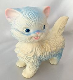 Vintage Edward Mobley rubber white kitty cat squeaky toy