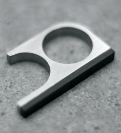 Alexey Cherkasov   Thin Titanium Bauhaus Minimalist Two Finger Ring