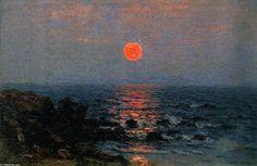 Moonlight on the Ocean, Oil On Panel by John Joseph Enneking (1841-1916, United States)