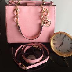 """Michael Kors Satchel Super Girly Pale Pink Handbag by: Michael Kors. """" CYNTHIA """"  Small Satchel Leather 100% Authentic    8X9.5.  With Gold Hardware.               NWT    Michael Kors Bags Satchels"""