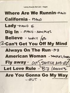 Lenny Kravitz Set List Vegas