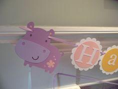 HIPPO Happy Birthday banner,  girl birthday. first birthday. hippo decorations,hippo birthday.hippo or safari theme on Etsy, $30.00