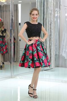 Cute Cap Sleeve Open Back Black Lace Printed Satin Two Piece Prom Dress Prom Dresses 2018, Prom Dresses For Sale, Cute Caps, Lace Print, Two Pieces, Cap Sleeves, Satin, Printed, Skirts