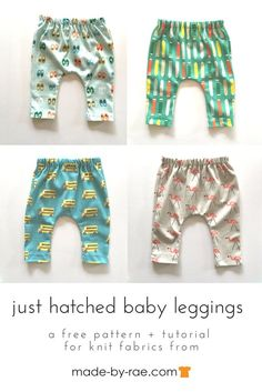 Sewing for baby: knit baby leggings — Made by Rae - I love to make baby pants and leggings. I always have so many cute baby onesies hanging around that making tops seems fairly pointless, but pants? Baby Clothes Patterns, Sewing Patterns Free, Free Pattern, Pattern Ideas, Pattern Sewing, Free Baby Patterns, Knitting Patterns, Childrens Sewing Patterns, Knitting Charts