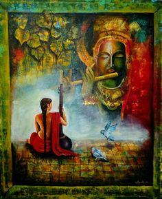 Krishna with meera  Medium: acrylic on canvas Size : 35 x 42 inch Price : 50000 Call : 9835508353