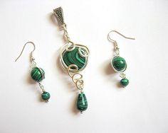 Pandativ si cercei set bijuterii pietre malachit verde Drop Earrings, Jewelry, Fashion, Malachite, Moda, Jewlery, Bijoux, Fashion Styles, Schmuck
