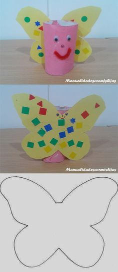 Manualidadesconmishijas: Mariposa con tubos de cartón. Crafts butterfly Toilet Paper Roll