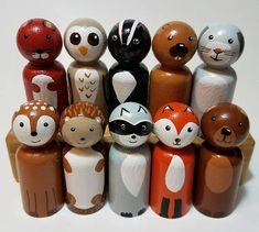 These peg dolls make the perfect play figurines and also can be displayed on a shelf, mantel or in a shadow frame in a nursery. These hand painted wooden animals are a great open ended toy, your little one will love creating miniature worlds and adventures with these woodland